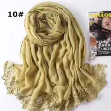Solid plain color lace flower fringed scarf fashion generous cotton shawl Scarf Muslim hijabs scarf independence packing 10pcs(China)