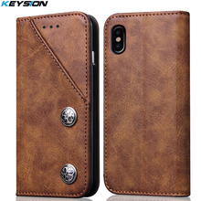 KEYSION Case for Apple iPhone X Magnetic Retro PU Leather Case TPU Back Cover for iPhone10 Card Kickstand Phone case for iPhoneX(China)