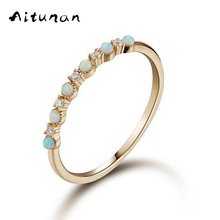 Aitunan Simple Classic Artificial Opal Cz Cubic Zirconia 925 Sterling Silver Rings For Women Thin Stacked Ring For Wedding Gift