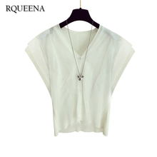 Rqueena Summer Chiffon Patchwork Cotton Mesh Cardigan For Women 2017 Casual White Short Solid Color Knitted Ice Silk Cardigan