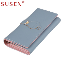 Women Long Wallets Cat Cartoon PU Casual Hasp Clutch Leather Coin Purses For Ladies Candy Colors Female Blue Pink