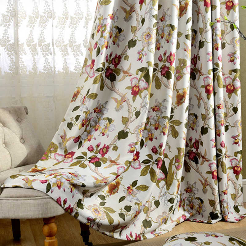 High Shading Rustic Classic Flower Printed Grommet Window Curtains For Living Room Blackout Drop Drapes For Bedroom Tulle AG0803