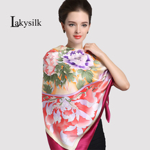 [Lakysilk]100% Pure Silk Women Square Scarves lady's new brand fashion Hand painted scarf & shawl 110*110cm autumn winter