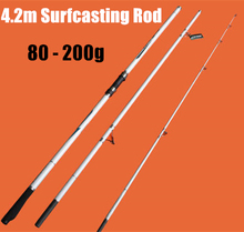 Free Shipping  White 4.2m 3 Section Surfcasting Rod Carbon Surf Casting Fishing Rod