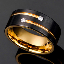 Black Gold Color Tungsten Carbide Ring For Men Women Wedding Band Anniversary Inlay Shiny
