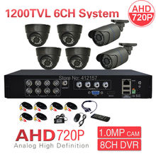 Home CCTV 8CH 3-IN-1 Hybrid 1080N DVR 6CH 1200TVL Security Camera System AHD 720P P2P PC Phone Remote Mobile View Access