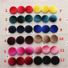50pcs 15mm Velvet Fabric Covered Round Button Flatback Cabochon Decoration Buttons Handmade Scrapbooking DIYBK1045