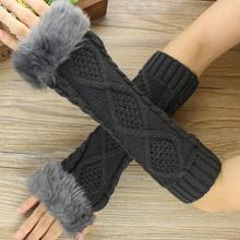 MUQGEW Women Fashion Knitted Arm Sleeve Fingerless Winter Gloves Soft Warm Mitten Young Girls Ladies Fashion Lace Arm Sleeve(China)