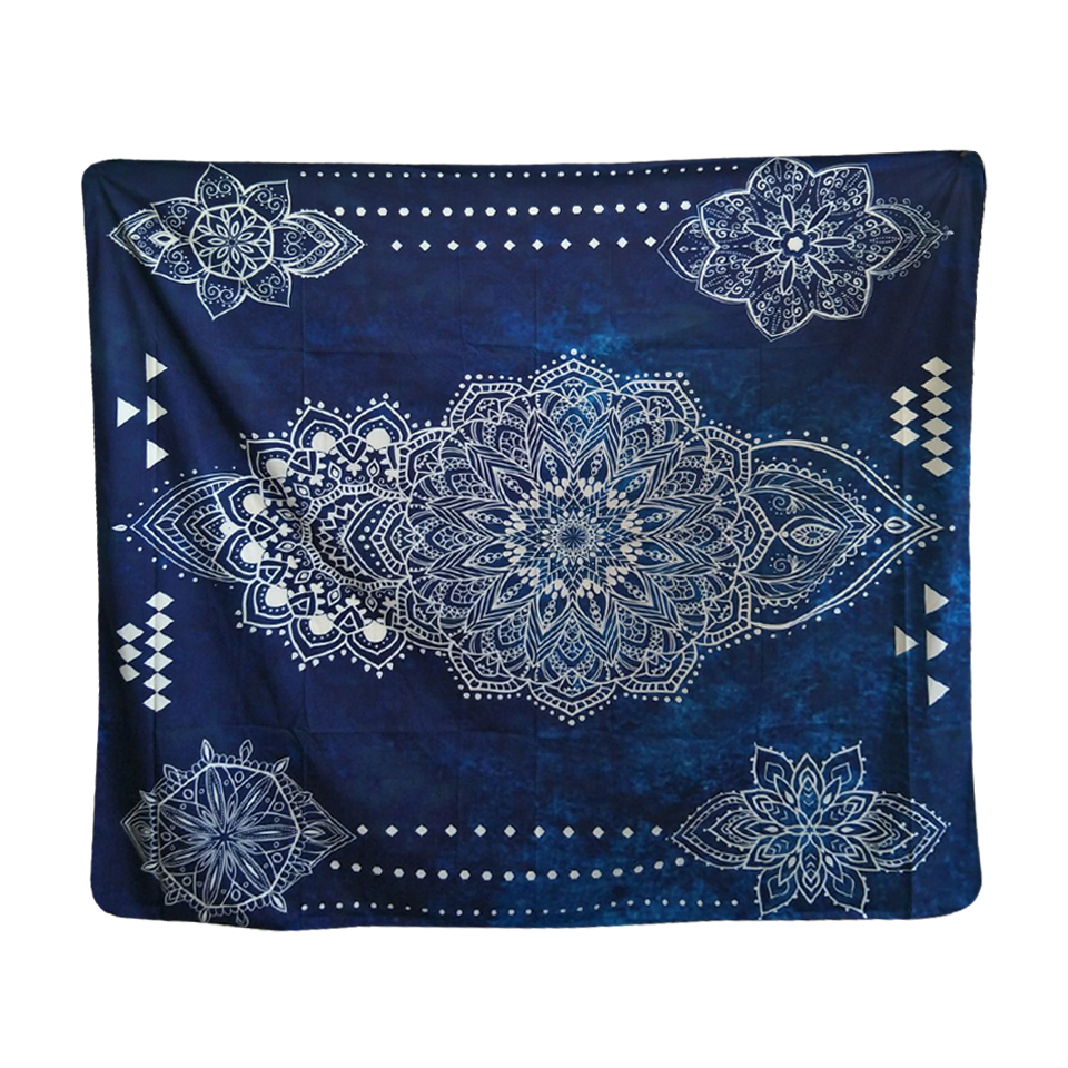 Noble Mandala Bohemian Paisley Blue Soft Polyester India Tapestry Wall Hanging Carpet Table Clothes 148x130cm/148x210cm(China (Mainland))