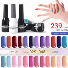 Organic Gel Lacquer 15ml CANNI 239 Colors Nail Art Design 62507 Salon Spa Soak Off UV LED Gel Varnish Nail Gel Polish 025-048(China)