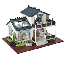 Provence villa Large DIY Wood Doll house 3D Miniature Light+Music box+Furnitures Building model Home&Store decoration Simple Ed.