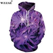 WZZAE 2018 New 3D Hoodie 3D Purple Weed Leaf Print Sweatshirt Fashion Hip H Hooded Sweatsuits Tops Size S-XXXL FREE shipping