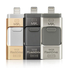 Metal Pen Deive OTG USB 3.0 Flash Drive 8GB 16GB 32GB 64GB For iPhone 5/5s/5c/6/6s/6plus/7 ipadAir/Air2,Mini/2/3,Android Phone(China)