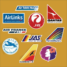 10 Pieces/lot Airline Logo Pvc Decal Sticker Fashion Trunk Luggage Carrier Laptop Brand Handbag Waterproof Stickers Toys
