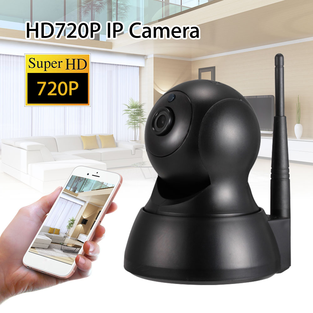 Wireless Pan Tilt 720P WiFi IP Camera Night Vision Security Webcam Two Way Talk Indoor Motion Detection Black<br>