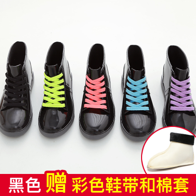 2017 Fashion new arrival rain boots waterproof flat with shoes woman rain woman water rubber ankle boots lace up botas<br><br>Aliexpress