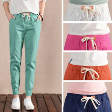 Women Cotton Linen Pants Lady Jeans Girl Trousers Female Capris Orange Red Green White S/M/L/XL/2XL 26/27/28/29/30/31 Wholesale