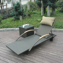 2 pcs Modern Rattan Sun Lounger , Folding Lounger With Side Tea Table transport by sea(China)