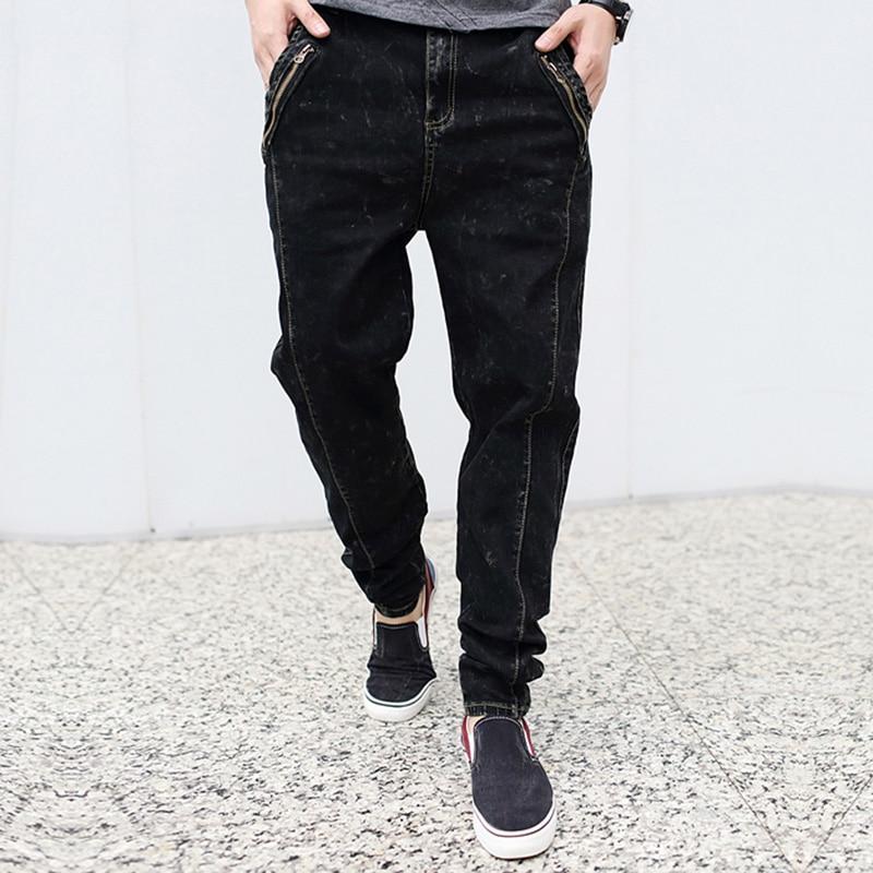 2017  fashion casual harem male jeans spring autumn long low crotch pencil elastic  jeans men slim harem plus size blackÎäåæäà è àêñåññóàðû<br><br>
