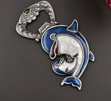 Russia import lovely style tin alloy dolphins multi-function bottle opener fridge magnet openers 2pcs/lot(China)