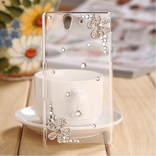 New 3D Flower bling diamond Cell Phone Case Hard Back Cover Case For Sony Xperia C3 D2533 D2502