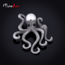 Mloveacc Antique Plated Unique Octopus Brooches Retro Style Simulated Pearl Brooch Pins Ladies Fashion Scarf Jewelry Accessories