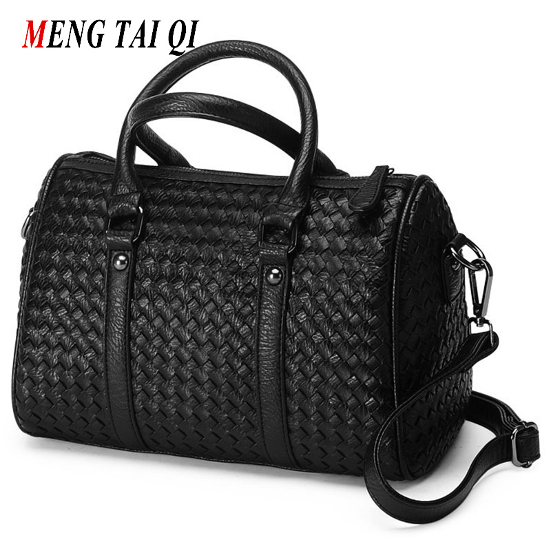 Women bag messenger bags top-handle bags Weaving boston women leather handbags luxury handbags women bags designer fashion 55<br><br>Aliexpress
