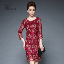 wmwmnu 2017 fashion christmas 3D Embroidery Pencil dress women and Solid color lace sexy party dress victorian drees(China)