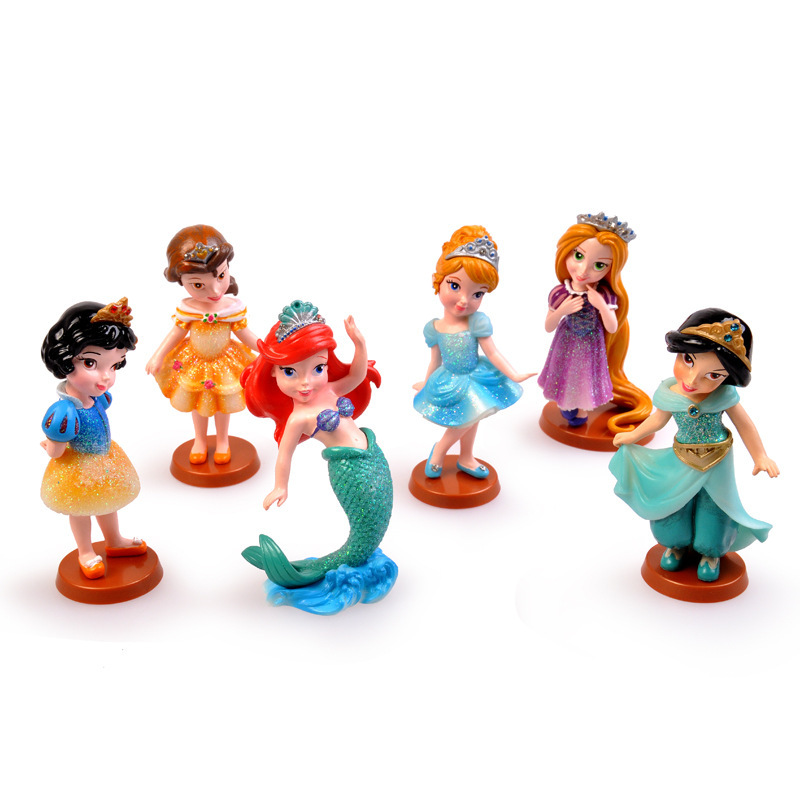 6pcs Classic Princess Mermaid Rapunzel Snow White Sleeping Beauty Cinderella Beauty And Beast Action Toy Figures Girls Kids Gift<br><br>Aliexpress