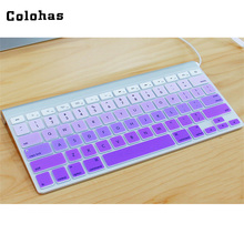 Colohas Protect Soft Foldable Silicone Gradient Color Keyboard Cover Waterproof Dustproof Keyboard Skin for iMac US Layout