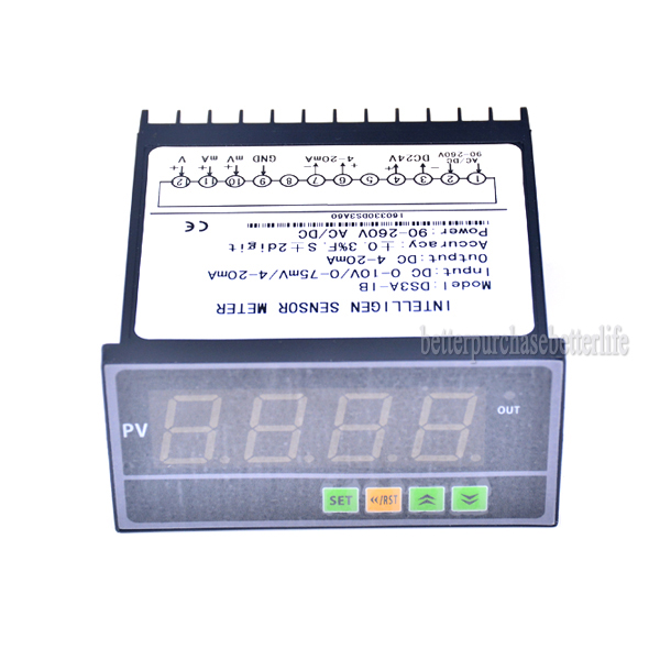 Intelligen Sensor Meter Pressure Transmitter Display Meter, 0-75mV/4-20mA/0-10V DC Input Sensor Display Meter<br>