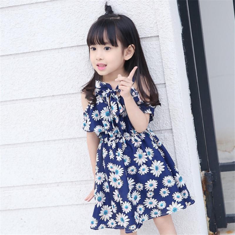 1pc Sunflower Print Girls Dresses Summer Vestidos Korean Style Children Dress Fashion Design Short Sleeve Knee-Length 2016 New<br><br>Aliexpress
