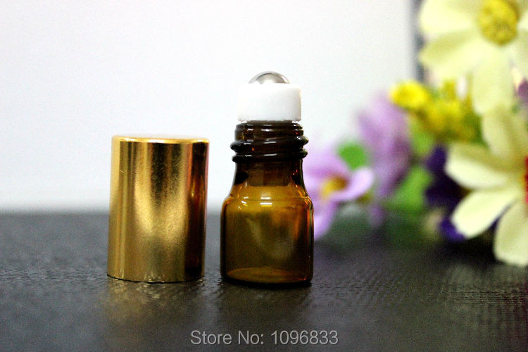 2CC Amber Roll on Bottle with Gold Cap, Glass Bottle with Steel Bead Roller, Glass Amber Bottle, Brown Glass Bottle, 100pcs/Lot(China)