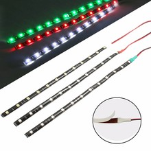 New 3pcs/set 30cm 12V 12 LED Waterproof Van Boat Marine Navigation Red Green White Strip Lights