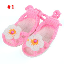 5pairs/lot Slipper Shaped Cotton Crochet Baby booties with flowers Girls First Walkers Baby Cotton Shoes