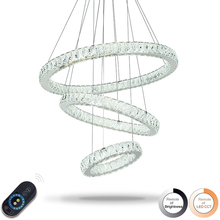 Dimmable LED Ring Crystal Pendant Lights Indoor Modern Pendant Light Home Lamp Deco Hanging Lamps Fixtures with Remote Control