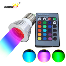 RGB LED lamps 16 Color Change bulb E27 4W Spotlight AC 85V 127V 220V 265V for Home Party Decoration light with IR Remote 1pcs