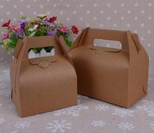 50pcs New Style Kraft Paper Favor Bag Cupcake Boxes Cupcake Packing Cake Box Chocolate Muffin Biscuits Box for Cake Package
