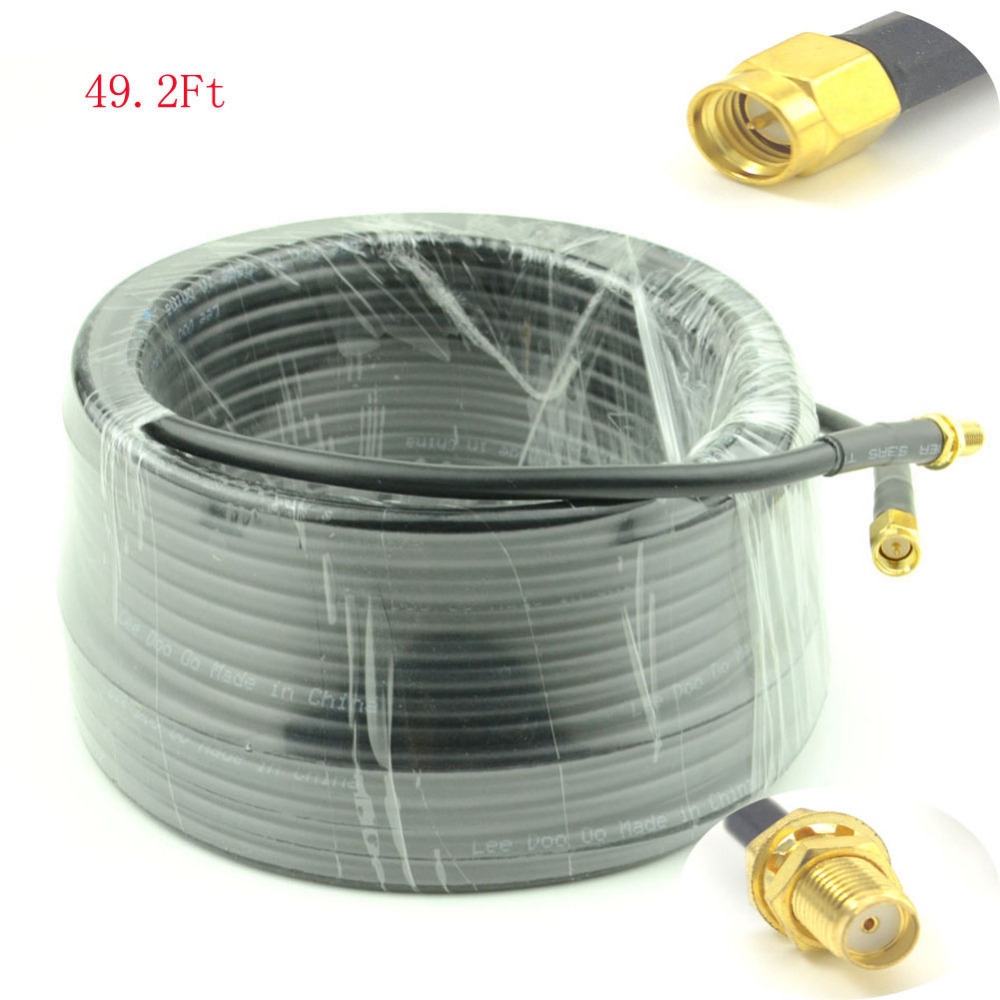 15-Meter(49.2 Ft) Low Loss SMA Female to SMA Male Extension RG58/U Coaxial Cable Connector <br><br>Aliexpress