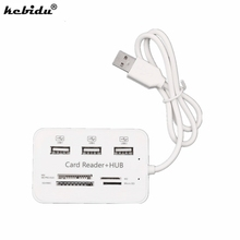 kebiduNew USB Hub Combo 2.0 3 Ports Card Reader High Speed Multi USB Splitter Hub Support Micro SD Card MMC card For PC Computer(China)