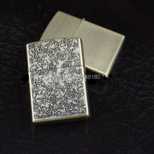 High Quality Tang grass bronze Fashion oil kerosene lighters Windproof Metal Smoking Fuel Lighters with Free Flintstone