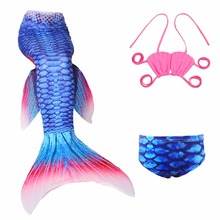 3PCS/Set Girls Mermaid Tails Swimwear Cosplay Costume Baby Children Lovely Bikini Kids Swimsuit Halloween Fanny Princess Dresses