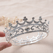 Fashion Crystal Jewelry Silver Plated Bridal Tiara Round Crowns Wedding Hair Accessories Gorgeous Bride Princess Headwear
