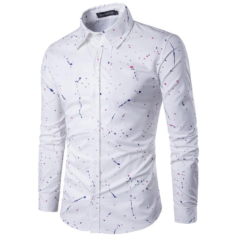 18 Print Men Casual Dress Shirts Long Sleeve Clothes Male Camisa Hombre Square Collar Blouse Plus Size 3XL 8