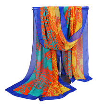 Women's Soft Scarf Shawl Hijab Chiffon Printing Yellow Rosey Black Coffee Blue (8 colors) Size 160X50cm AW-XQ71