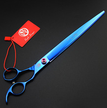 Top grade 440C 10 inch hair scissors Pet grooming scissors blue paint professional dog hair hairdressing scissors pet shears