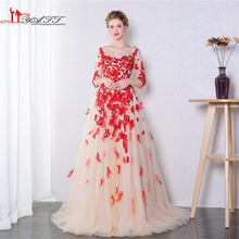 LIYATT Abendkleider vestido de festa O neck Red 3D Flowers Long Appliques Lace Evening Gown robe de soiree Prom Dress saree