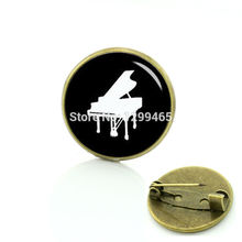New arrival piano brooches Interesting retro ethnic style creative badge Musical instrument silhouette art picture pins  T765
