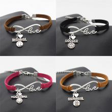 New Sport Punk Antique Silver I Love Baseball Soccer Basketball Volleyball Football Charm Pendant Infinity Love Leather Bracelet