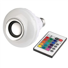 85-265V Smart Led Light Music Player Audio Wireless Bluetooth Speaker +12W RGB Bulb E27 LED Lamp with Remote Control